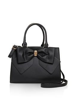 Faux Leather Bow Satchel - 3124073896451