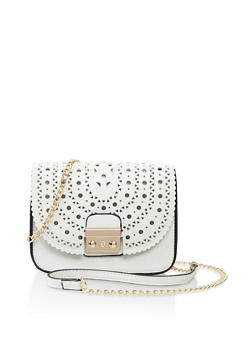 Faux Leather Laser Cut Crossbody Bag - 3124073896461