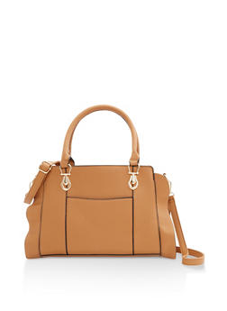 Faux Pebbled Leather Handbag - 3124073896467