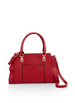 Faux Pebbled Leather Handbag - 3124073896467