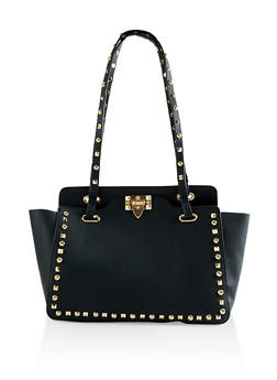 Studded Faux Leather Tote Bag - 3124073896503