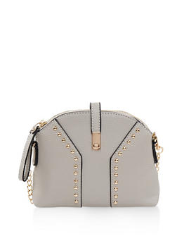 Studded Faux Leather Crossbody Bag - 3124073896561