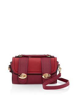 Faux Leather Crossbody Satchel - 3124073896562