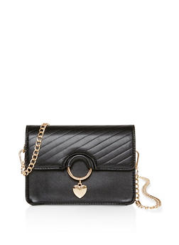 Heart Charm Faux Leather Crossbody Bag - 3124073896568