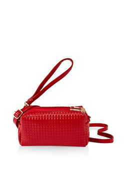 Textured Faux Patent Leather Crossbody Bag - 3124073896661