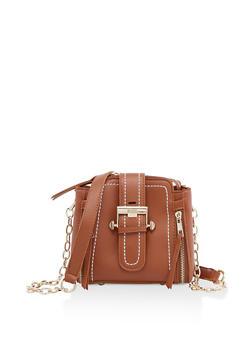 Mini Faux Leather Buckle Crossbody Bag - 3124073896868