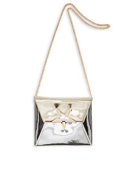 Metallic Star Snap Closure Crossbody Bag - 3124073896890