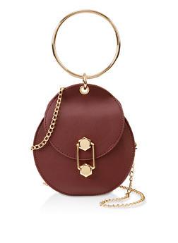 Metallic Handle Round Crossbody Bag - 3124073896915