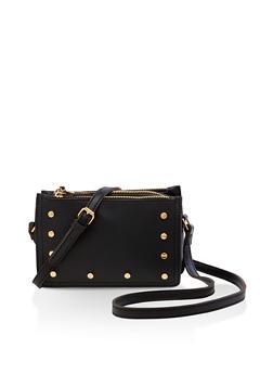 Studded Double Zip Crossbody Bag - 3124073896925