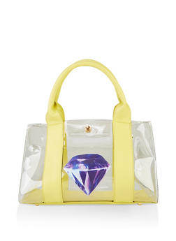 Clear Diamond Graphic Handbag - 3124073897091