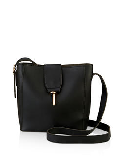 Metallic Lock Crossbody Bag - 3124073897106
