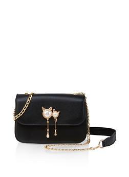 Faux Pearl Cat Crossbody Bag - 3124073897112