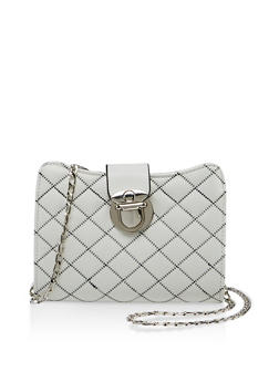 Decorative Stitch Quilted Crossbody Bag - 3124073897146