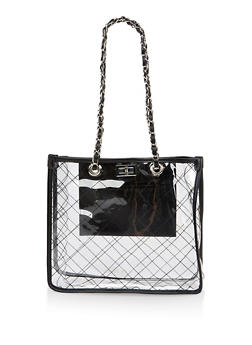 Woven Chain Strap Clear Tote Bag - 3124073897173