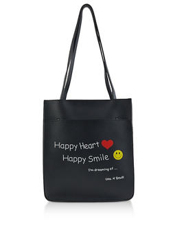 Happy Heart Happy Smile Faux Leather Tote Bag - 3124073897179