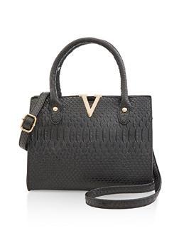 Faux Croc Crossbody Handbag - 3124073897233