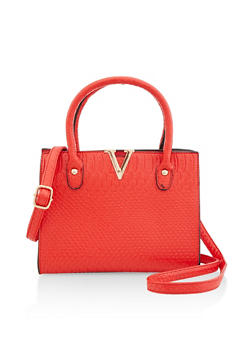 Faux Croc Crossbody Handbag - 3124073897233