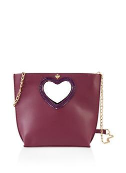 Cut Out Heart Handle Crossbody Bag - 3124073897257