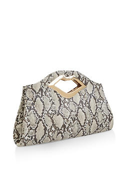 Lip Handle Snake Print Clutch - 3124073897259