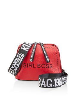 Girl Boss Graphic Strap Crossbody Bag - 3124073897286