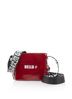 Hashtag Hello Graphic Strap Crossbody Bag - 3124073897291