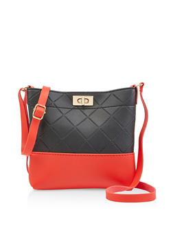 Color Block Quilted Crossbody Bag - 3124073897373