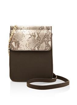 Snake Print Flap Crossbody Bag - 3124073897376