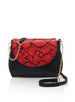 Color Block Snake Print Flap Crossbody Bag - 3124073897377