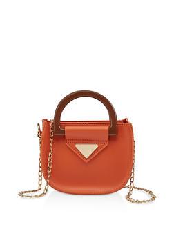 Mini Faux Leather Crossbody Bag - 3124073897412