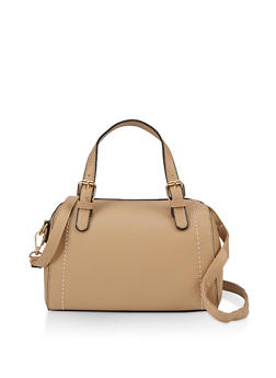 Textured Faux Leather Bowler Bag - 3124073897445