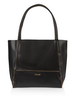 Faux Leather Zipper Detail Tote Bag - 3124073897508