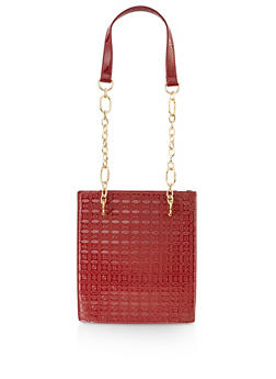 Embossed Chain Strap Tote Bag - 3124073897608