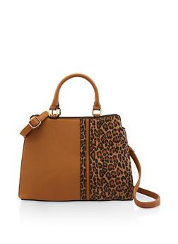 Animal Print Detail Crossbody Handbag - 3124073897610