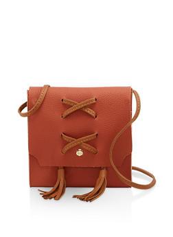 Lace Up Tassel Crossbody Bag - 3124073897611