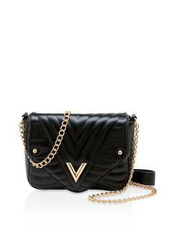 Quilted Chain Crossbody Satchel - 3124073897650