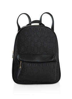 Faux Saffiano Leather Backpack - 3124073898365