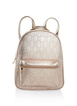 Faux Saffiano Leather Backpack - PINK - 3124073898365