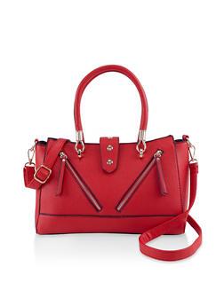 Double Zip Faux Leather Crossbody Handbag - 3124073899107