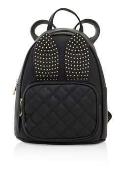 Studded Bunny Ear Backpack - BLACK - 3124073899465