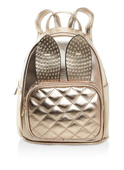 Studded Bunny Ear Backpack - BROWN - 3124073899465