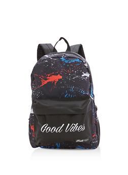 Good Vibes Paint Splatter Nylon Backpack - 3124074133105