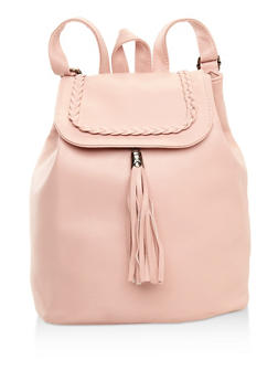 Faux Leather Tassel Braided Backpack - 3124074390968