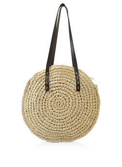 Woven Straw Handbag - 3124074391074