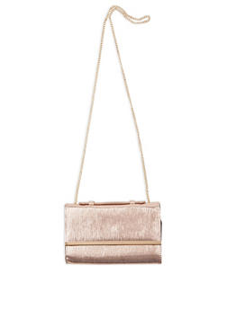 Crinkled Faux Leather Clutch - 3124074391766