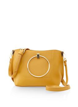 Metallic Ring Handle Crossbody Bag - 3124074391781