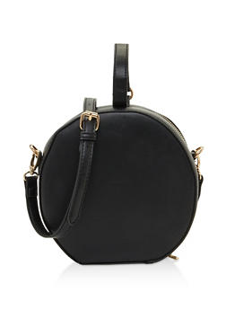 Faux Leather Round Crossbody Bag - 3124074391900