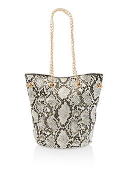 Studded Faux Leather Bucket Bag - 3124074391906