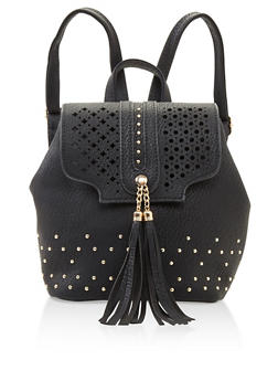 Studded Faux Leather Backpack - 3124074391973