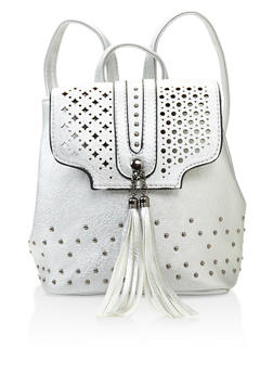 Studded Faux Leather Backpack - SILVER - 3124074391973