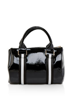 Striped Tape Faux Patent Leather Bag - 3124074391977